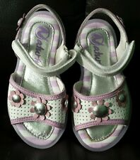 Naturino girls toddler leather sandals shoes purple flower size EU 24 / US 8 New