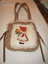 Vintage HOLLY HOBBY Handmade Purse Handbag Quilted Side Pocket Bows Carry All