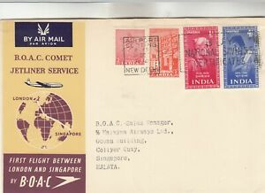 India BOAC Comet First Flight Between London & Singapore Cover