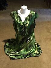Von Mauer Shades Of Green Swirl Satiny Dress By Alex Marie Size 12