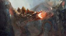 Quadro legno 59 x 32 cm stampa in alta qualità fantasy lotta draghi sputa fuoco