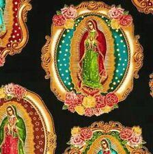 Kaufman Inner Faith Virgin de Guadalupe SRKM-15651-2 Black w/Gold Metallic, BTY