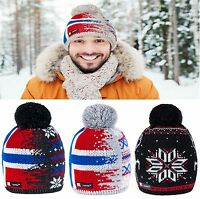Unisex Beanie Hat Winter WOOL Baggy Knitted NORDIC Xmas Gift Ski Snowboard Merry