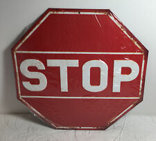 VINTAGE RETRO STYLE STOP SIGN METAL EMBOSSED RAISED LETTER SIGN