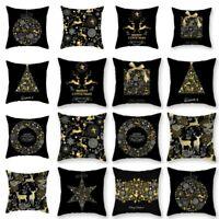 Christmas Pillow Case Glitter Cotton Linen Sofa Throw Cushion Home Decor DIY