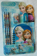 FROZEN Anna, Elsa 6pc Stationery Set - Pencils, Eraser, Sharpener, Mini Notebook