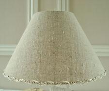 ABAT-JOUR TISSU LIN NATUREL 16 x 25 cm POUR PIED DE LAMPE CHOIX DE GALON LIN