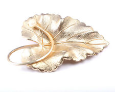Gold Tone Leaf Brooch with Faux Pearl, Vintage 1950s