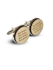 Personalised Wooden Cufflinks with Wedding Vows Groom Gift