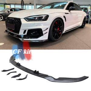 Carbon Fiber Front Bumper Lip Chin Spoiler +Side Spliiters For Audi A5 RS5 17-19