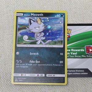 Pokemon TCG Alolan Meowth Promo SM43 + Online Code Sun and Moon Mint
