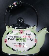 VINTAGE CLEMINSONS CALIFORNIA PORCELAIN SINGING KETTLE TEAPOT WALL POCKET GREEN