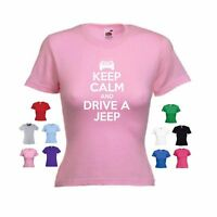 'Keep Calm and Drive a Jeep' (Jeep crown) Cherokee Wrangler Funny Ladies T-shirt
