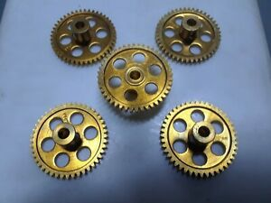 1/24 (5) brass superlight spur gears 44 tooth.48 pitch.1/8 axle. NOS. see pics.