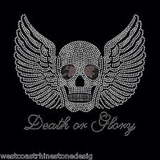 Death on Glory Skull with Wing Rhinestone Iron on Transfer        JYS6