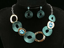 only 1 set sapphire blue crystal deep teal circles design necklace earrings N15