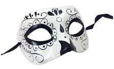 Day of the Dead Black N' White Eye Mask Sugar Skull Adult Men Costume Accessory