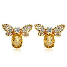 Fashion Animal Jewelry Women Yellow Ear Stud Bee Citrine Earrings