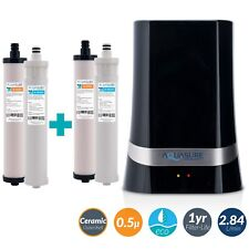 Aquasure Ultrafiltration Countertop Water Filter Bundle with 2X Filter (Black)