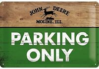 John Deere Parking Only Goffrato Segno Del Metallo 300mm x 200mm (Na)