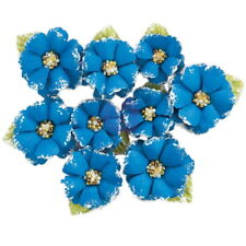 Morocco Blue - 9 Fabric Flowers With Beads & Flocking Centre 30-40mm Prima 2017