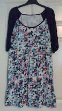 Fat Face Ladies Navy Blue Floral Short Sleeve Cotton Blend Jumper Dress UK 14