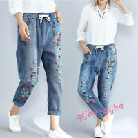 Casual Women's Denim Ninth Pants Embroidery Loose Skinny Jeans Ripped Trousers