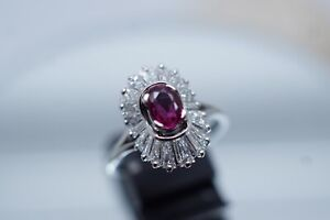 Prunkvoller Damenring,18 Kt WG,1,0ct natürlicher Rubin,1,54ct Diamanten,750er
