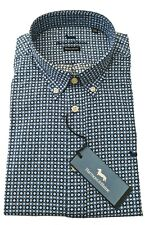 "Harmont & Blaine 2XL Chest 52"" Blue Geometric REG FIT Long Sleeve Shirt RRP £169"