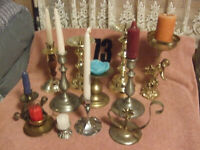 Vintage Large Lot of 12 Quality Brass candle holders one with angel +++