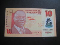 NIGERIA 2009 POLYMER ISSUE - 10 NAIRA DATED 2015 P39f? -7 NUMBER SERIAL-UNC