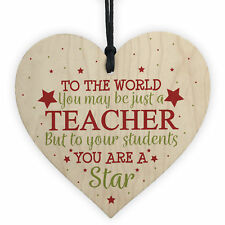 Thank You Teacher Gift Wooden Heart Leaving Goodbye Nursery School Present