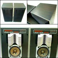 Vintage Goodmans Bookcase Tall Dark Wooden Case Audiophile 70` Speakers PG 130