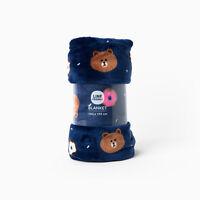Korea LINE Friends Navy Grey Brown Pink Choco Pattern Blanket Mascot Gift