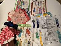 """Vintage Cut & Sew DOLL CLOTHES Fabric Panel 11-12"""" Barbie Ken Fabric Pattern Lot"""