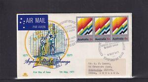 Australia 1971 Royal Sydney Stock Exchange Centenary FDC (yellow & blue design)