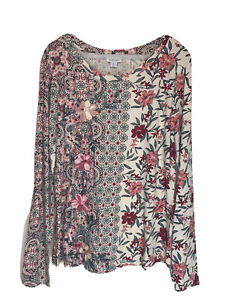 Sundance Womens Ivory Red Green Floral Embroidered Long Sleeve Blouse Size XL