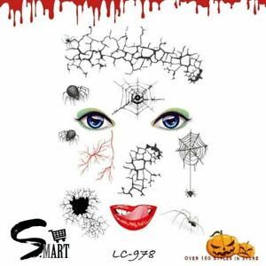 Halloween Scary Eyes Spider Web Vessel Temporary Face Tattoo Sticker LC978