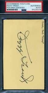 Dizzy Trout PSA DNA Coa Autograph Hand Signed 1952 Government Postcard GPC