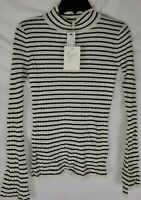 Joie Gestina Sweater Stripes Mock Neck Wool-Blend Women's Size XS New with Tags