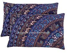 2 PC Indian Cotton Cushion Cover Elephant Mandala Pillow Cover Throw Handmade