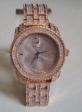 Men's big hip hop bling clubbing Rose gold finish dressy fashion wrist watch