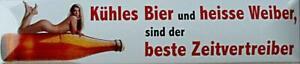 Magnet Blechschild Kühles Bier heisse Weiber Deko Schild Wanddeko