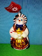 Snowman Snow Woman Hand Painted Glass Ornament Poland w Slavic Treasure Tag