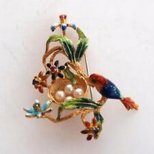 VINTAGE ITALIAN 18K GOLD ENAMEL BIRD NEST PIN/ BROOCH WITH PEARLS & GEMS