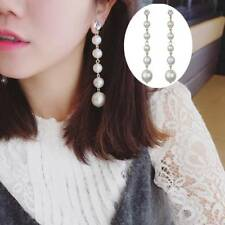 Elegant Big Simulated Pearl Long Tassel Dangle Earrings All-match Party Jewelry