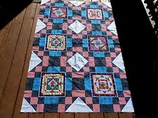 "Large Unfinished Quilt Top Teddy Bear Patchwork 22"" Block Kids Blue Red Calico"
