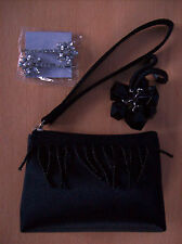 Purse Womens Small Zipped Black Purse Wth Beaded Strands & Accessories New