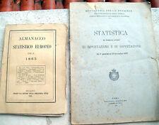 1865 LOTTO ALMANACCO STATISTICO EUROPEO + STATISTICA IMPORT EXPORT IN ITALIA