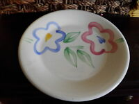 Pier 1 Imports Dinner Plates Floral Pink Green Blue Lot of 6